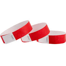 Wrist Bands 25mm Red 50pk