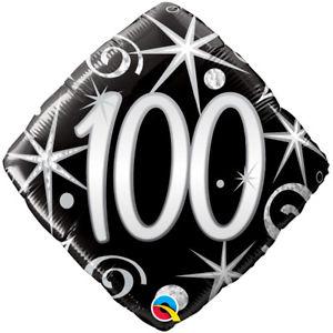 Foil Balloon 100th Birthday - Black Diamond