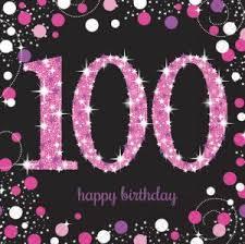 Napkins 100th Birthday 16pk - Pink Celebration