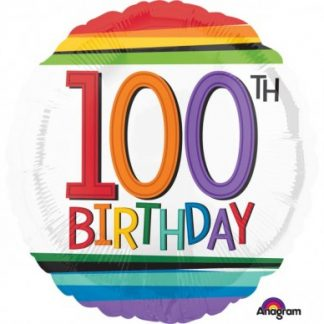 Foil Balloon 100th Birthday - Rainbow