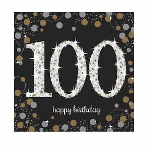 Napkins 100th Birthday 16pk - Sparkle Celebration
