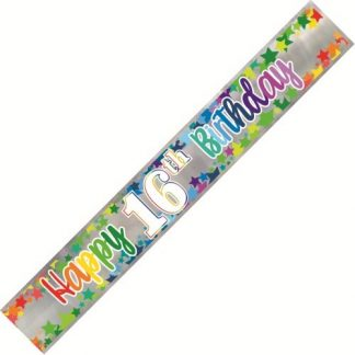 Banner Happy 16th Birthday - Foil Stars