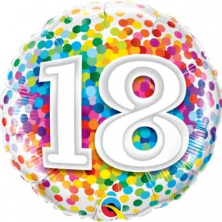 Foil Balloon '18' - Rainbow Confetti