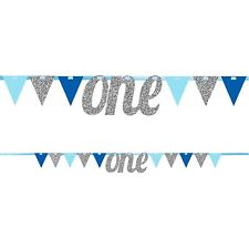 1st Birthday Bunting Banner - Blue/Silver