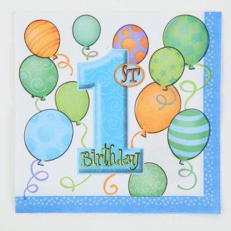 1st Birthday Napkins 16pk Blue