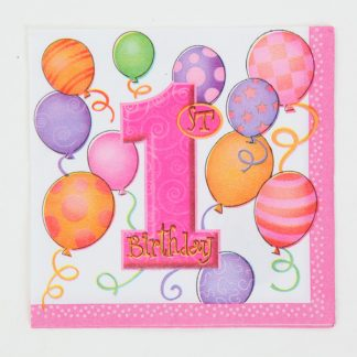 1st Birthday Napkins 16pk Pink