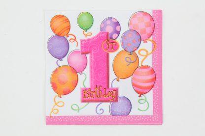 1st Birthday Napkins 16pk Pink