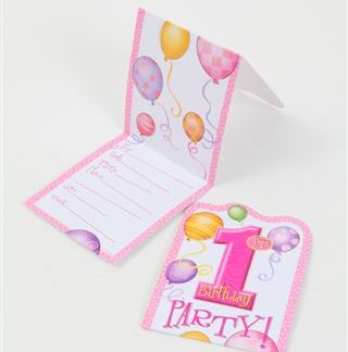 1st Birthday Invitations Pink