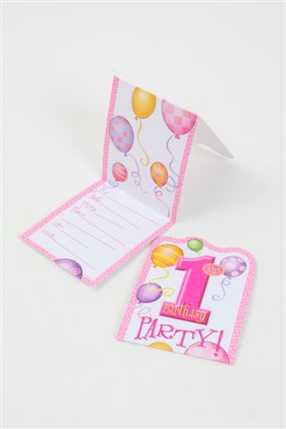 1st Birthday Invitations Pink