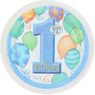 1st Birthday Plates Blue - 8pk