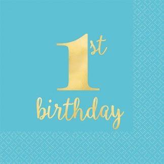Blue & Gold 1st Birthday Napkins