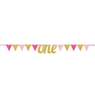 1st Birthday Bunting Banner - Pink/Gold
