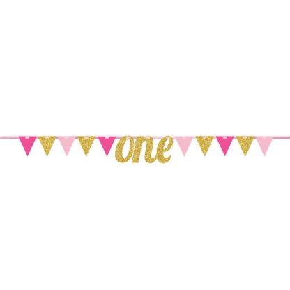 1st Birthday Bunting Banner - Pink/Gold
