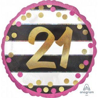 "Foil Balloon 18"" 21st Pink & Gold"