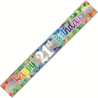 Banner Happy 21st Birthday - Foil Stars