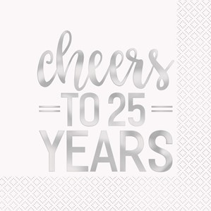 """Cheers To 25 Years"" napkins 16pk"