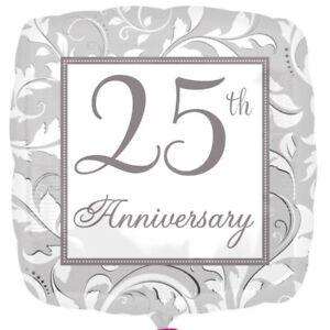 Foil Balloon Silver 25th Anniversary