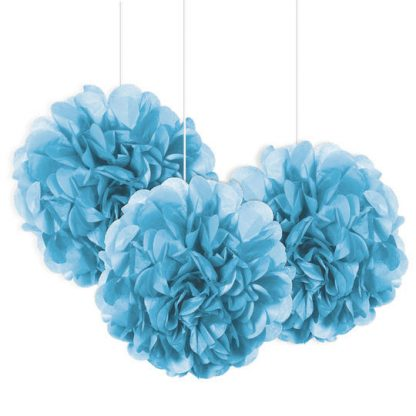 Tissue Paper Pom Poms - Mini Blue 3pk