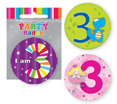 Badge Small 3rd Birthday Assorted