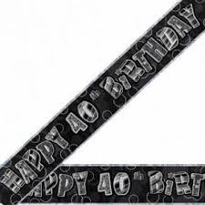Banner Happy 40th Birthday - Black & Silver