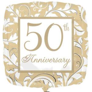 Foil Balloon Gold 50th Anniversary