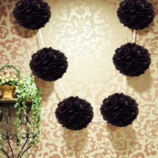 Tissue Pom-Pom Garland Black - 3 mtrs