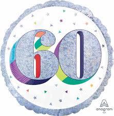 Foil Balloon 60th - Prismatic Silver