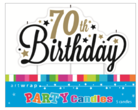Happy 70th Birthday Candle