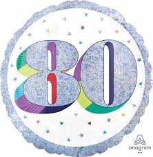 Foil Balloon 80th - Prismatic Silver