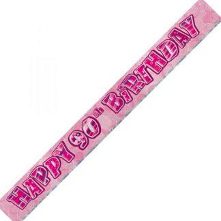 Banner Happy 90th Birthday - Pink & Silver