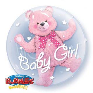 "Bubble Balloon 24"" Baby Girl Bear - Pink"