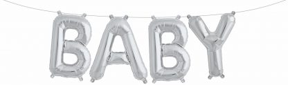 """Foil Balloon Banner Silver """"BABY"""" *air fill only"""