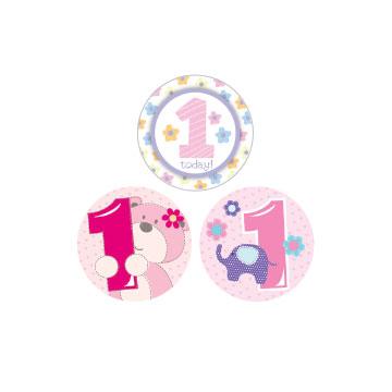 Badge Small 1st Birthday Girl Assorted