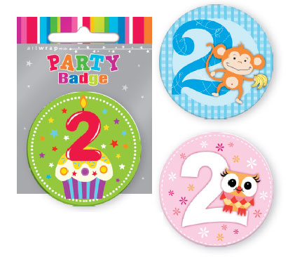 Badge Small 2nd Birthday Assorted