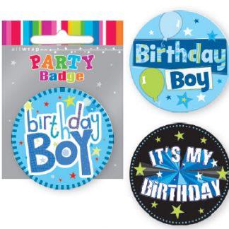 Badge Small Birthday Boy Assorted
