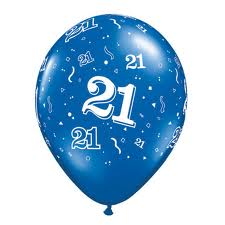 Balloon Single 21st Blue