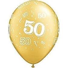 Balloon Single 50th Gold