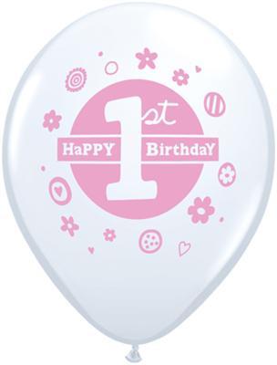 Balloon Single 1st Birthday Pink