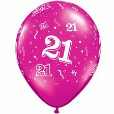 Balloon Single 21st Magenta Pink