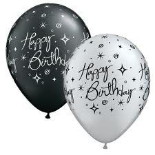 Balloon Single Happy Birthday Silver