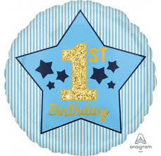 Blue 1st Bday Foil Balloon