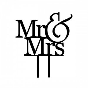 """Wedding Cake Topper """"Mr & Mrs"""" - Black"""