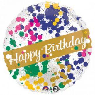"""Foil Balloon 18"""" Happy Birthday - Paint Splatter"""