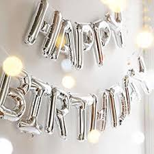 "Foil Balloon ""HAPPY BIRTHDAY"" Banner Silver *Air fill only*"
