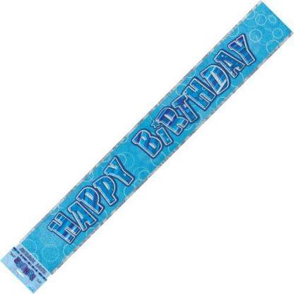 Banner Happy Birthday - Blue & Silver