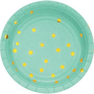 Paper Plates Mint 8pk - Gold Foil Dots