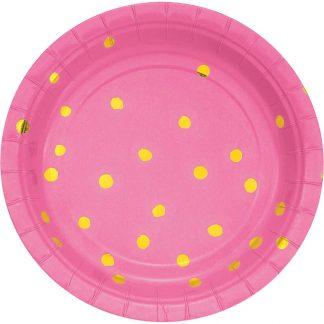 Paper Plates Pink 8pk - Gold Foil Dots