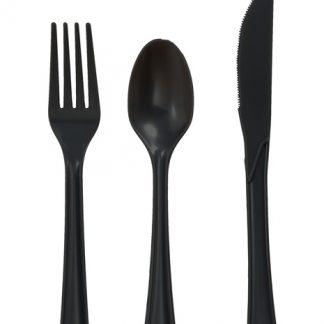 Plastic Black Forks 25pk