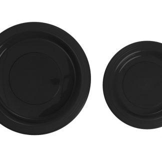 Plastic Black 18cm Plates 25pk
