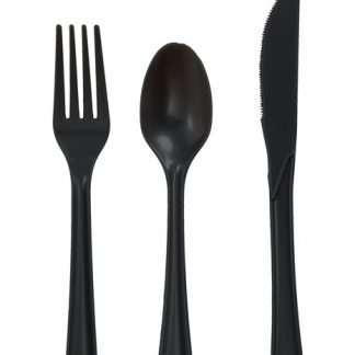 Plastic Black Spoons 25pk